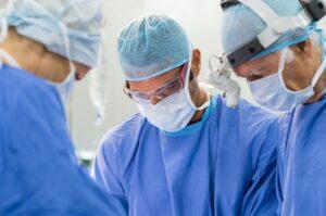 Team of surgeons operating